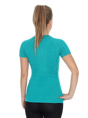 Brubeck–ss11700Active lana mujer Camiseta | Merino | Funcional | Sport | Fitness | Función Ropa | Unterhemd verde esmeralda