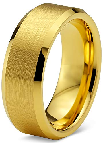 Charming Jewelers Tungsten Wedding Band Ring 8mm Men Women Comfort Fit 18k Yellow Gold Plated Bevel Edge Polished Size 8 by Charming Jewelers