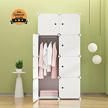 Tespo Portable Clothes Closet Wardrobe, Freestanding Bedroom Armoire  Storage Cabinet Organizer With Doors, White