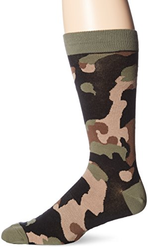 K. Bell Socks Men's Camouflage Crew, Olive, 13-15