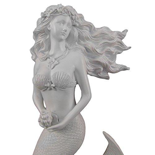 TG,LLC Glittering White Flowing Hair Mermaid Sculpture Wall Art Plaque Beach Home Decor