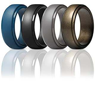 ThunderFit Men's Silicone Ring, Step Edge Rubber Wedding Band, 10mm Wide, 2.5mm Thick (Dark Blue, Black, Brass, Men Bronze, 15.5-16 (24.5mm))
