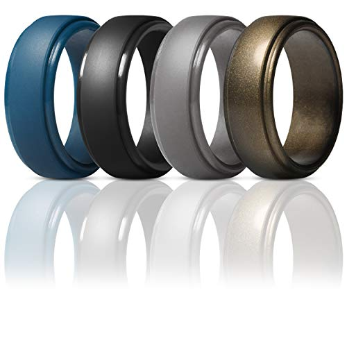 Anniversary Wedding Band Ring - ThunderFit Silicone Rings for Men - 4 Pack Rubber Wedding Bands (Dark Blue, Black, Brass, Men Bronze, 12.5-13 (22.2mm))