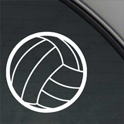 Volleyball Decal | White | 5 In | Car Truck Computer Wall Etc. | CCI225