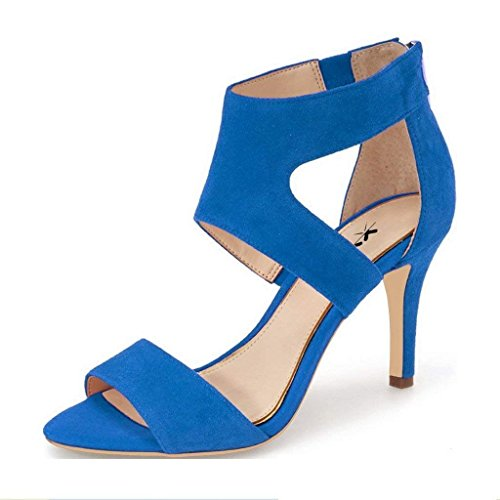 (XYD Prom Dancing Shoes Elegant Open Toe Strappy Heeled Sandals Ankle Wrap Dress Pumps for Women Size 10 Blue)