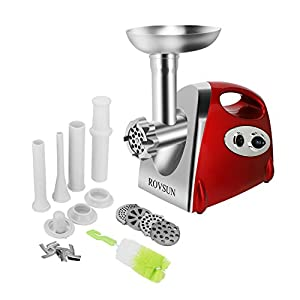 ROVSUN Electric Meat Grinder,800W Meat Mincer Sausage Stuffer, Food Grinder Chopper with 4 Cutting Plates,3 Sausage Stuffing Tubes,2 Stainless Steel Blades,Kibbe Attachment and Brush,ETL Safety,RED
