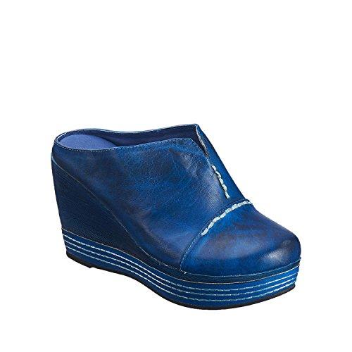 Antilopen Dames 824 Leergestikte Clog Wedge Blauw