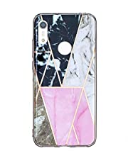 Miagon Marble Case for Huawei Y6 2019,Bling Electroplated Phone Cover Glossy Flexible Soft Rubber Silicone Bumper Protective Shell For Girls,Black Pink