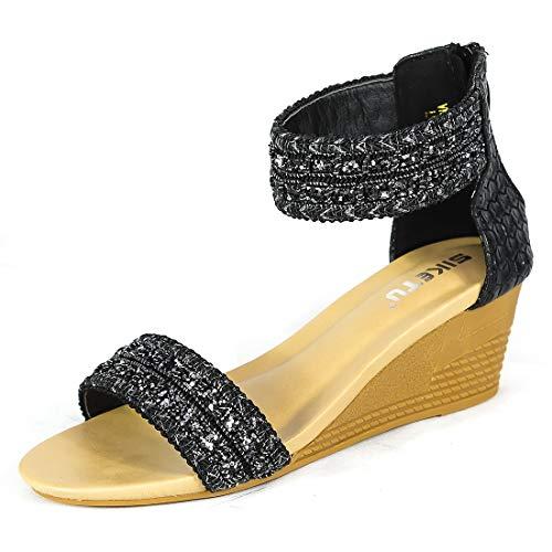 Womens Espadrille Wedge Sandals Peep Toe Rome Slides on Platform Summer High Heel Slippers-5 M US Black