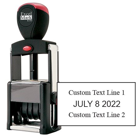 Date Stamp Self Inking Heavy Duty - ExcelMark (R100 Black Ink) (Heavy Stamp Duty Self Inking)