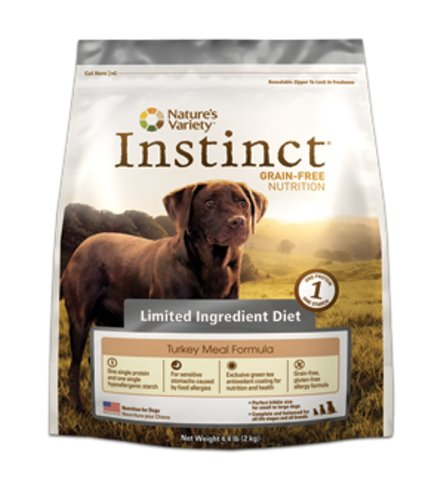 Nature's Variety Dry Dog Food, Instinct Grain Free Limited Ingredients Diet, Turkey Meal Formula, 4.4-Pound by...