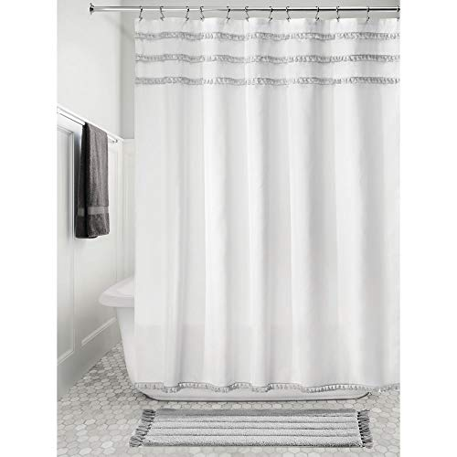 InterDesign Fabric Shower Curtain with Tassels, 72 x 72, White/Gray