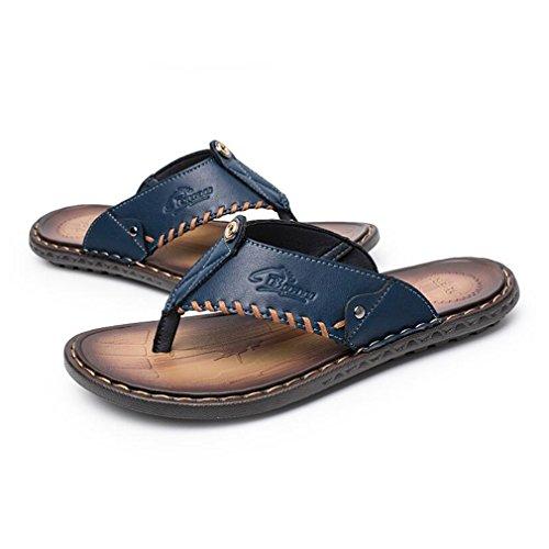 per Infradito Uomo Fashion Infradito Blu Junkai Casual Casual Ciabatte e Leggere Leggere Pantofole Pelle in Classic T5U5wHqIn