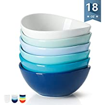 Sweese 1122 Porcelain Bowls - 18 Ounce for Cereal, Salad, Dessert - Set of 6, Cold Assorted Colors
