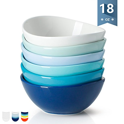 White Porcelain Rice Bowls - Sweese 1122 Porcelain Bowls - 18 Ounce for Cereal, Salad, Dessert - Set of 6, Cold Assorted Colors