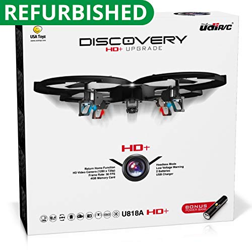 "Force1 Drones with Camera – ""UDI U818A Discovery"" Camera Drone with 720p HD RC Quadcopter Drone Camera w/ Micro SD Card + Power Bank and Bonus Battery (Certified Refurbished) (Stunt Rc Planes)"