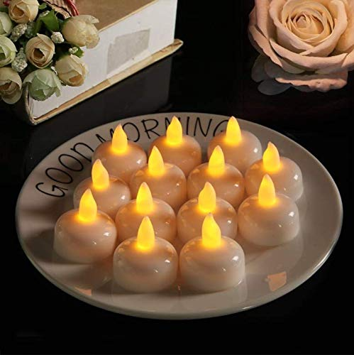 Micchow 24 Pack Novelty Candles Waterproof Flameless Floating Tealights, Battery Operated Floating LED Tea Lights Candles Flickering Yellow - Wedding, Party, Centerpiece, Pool & SPA by Micchow (Image #3)