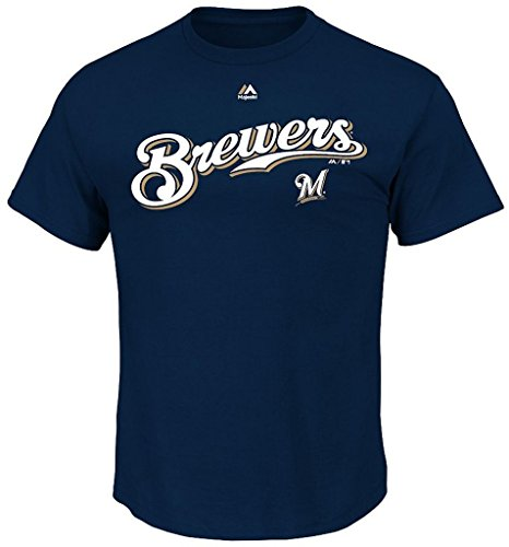 Majestic Milwaukee Brewers MLB Mens Series Sweep Shirt Navy Blue Big Sizes (3XL) ()