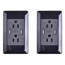 GREENCYCLE 2 PK Dual Plug Black Wall Socket Outlet US Power Adapter With Dual USB Power Outlet Charger