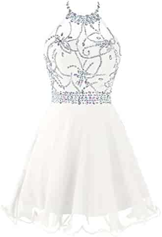 1616f7131e6 Topdress Women s Short Beaded Prom Dress Halter Homecoming Dress Backless