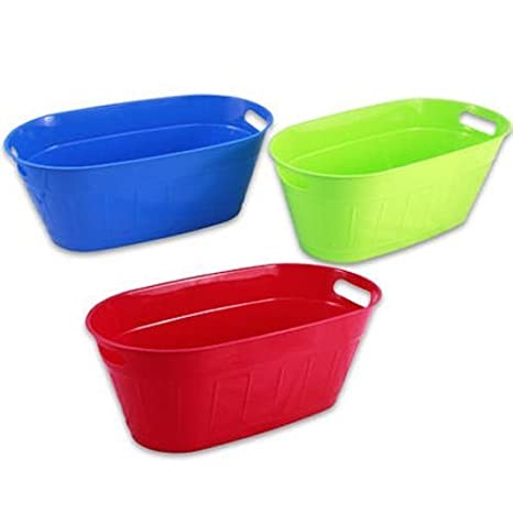 Amazoncom Plastic Oval Tub With Handles Assorted 195 Inches Long