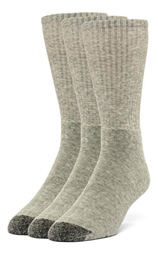 Galiva Men's Cotton Extra Soft Crew Cushion Socks - 3 Pairs, Large, Grey