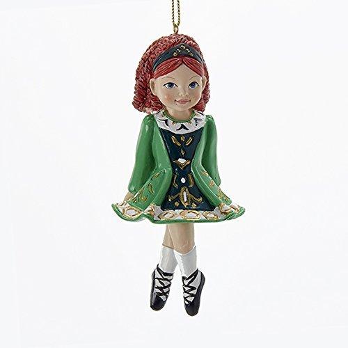 Kurt Adler Irish Girl Dancer in Green Dress Christmas Ornament