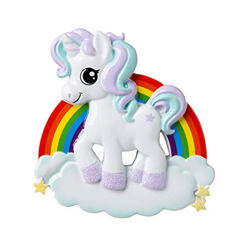 Personalized Unicorn Christmas Tree Ornament 2019 - My Fairy Pink Pony Rainbow Adventure Horn Wings Hooves Moon Star Gift Baby Girl Boy Dreamer Fantastic Ride Pixie Magic - Free Customization