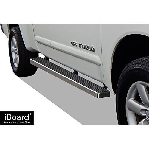 Nice APS iBoard Running Boards (Nerf Bars | Side Steps | Step Bars) for 2004-2017 Nissan Titan King Cab Pickup 4-Door | (Silver 5 inches) supplier