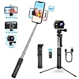 Selfie Stick, Mpow 3 Level Fill Light Phone & Camera 3 in 1 Extendable Tripod Selfie Stick Monopod with Bluetooth Remote, Compatible for iPhone Xs max/XS/XR/X/8/8plus, Sumsung S9/note9/S9+/S8/s8, Huawei, GoPro and More