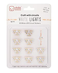 Chibitronics White LED Circuit Stickers - Megapack, 30 white LED circuit stickers