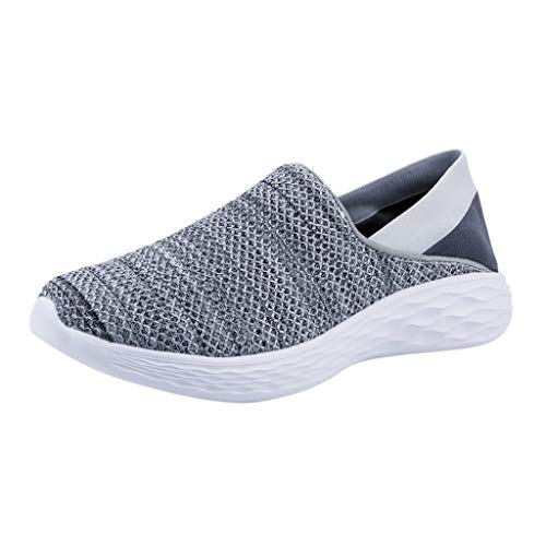 Sunhusing Couple Sports Shoes Men and Women Flying Woven Mesh Breathable Soft Bottom Running Casual -