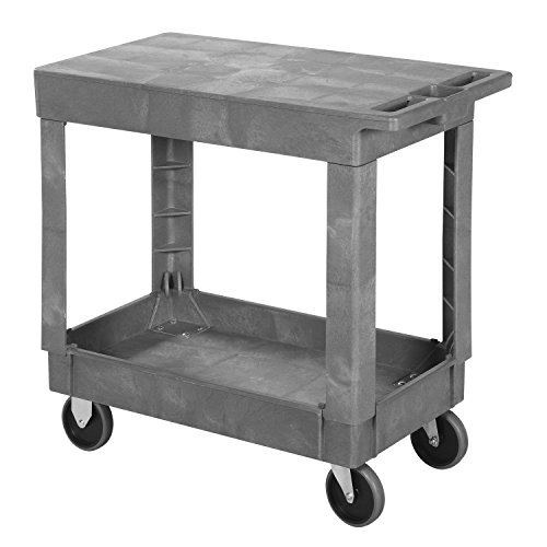 Plastic Flat Top Shelf Rolling Service Cart 34x17 - 5'' Rubber Casters by Global Industrial