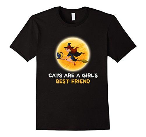Mens Cats Are A Girls Best Friend Cool Halloween Costume T-Shirt Medium Black
