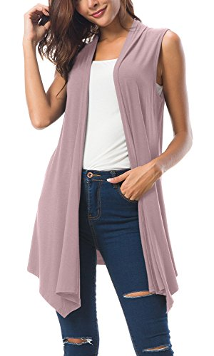 Women's Sleeveless Draped Open Front Cardigan Vest Asymmetric Hem (XL, - Vest Lace White