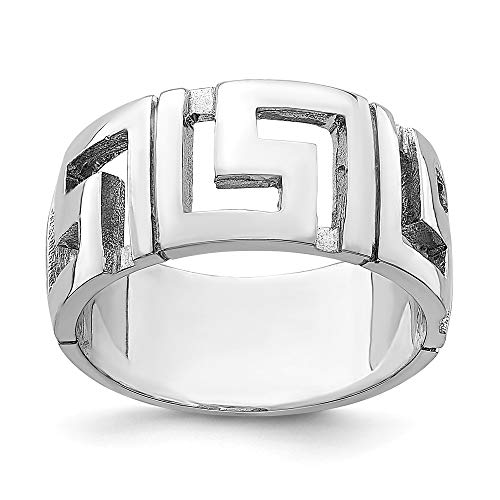 14k White Gold Greek Key Band