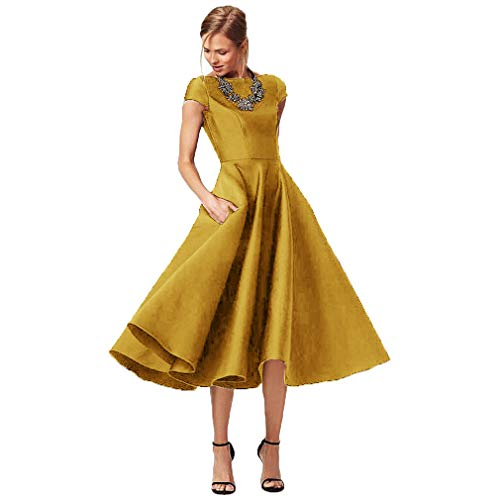 Fashionbride Women's Formal Evening Gown Satin Short Sleeve Tea-Length Mother of The Bride Dress Gold-US14