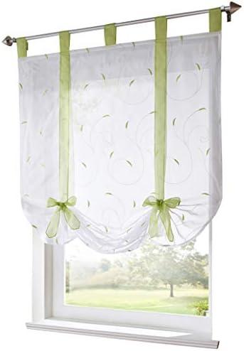 BAILEY JO – Tenda trasparente ricamata con passanti, decorazione per finestra, camera, bagno, balcone, 1 pezzo, Poliestere, verde, LxH/60x140cm