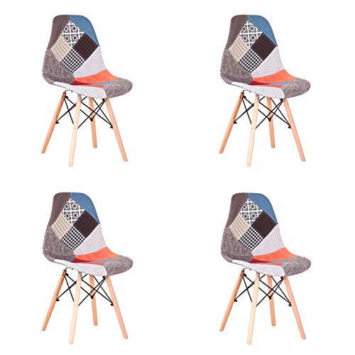 EGOONM Conjunto de 4 Sillas de Comedor de Patchwork Multicolore, Sillas de Sala de Estar de Ocio Sillas con Respaldo de cojin Suave (Rojo)