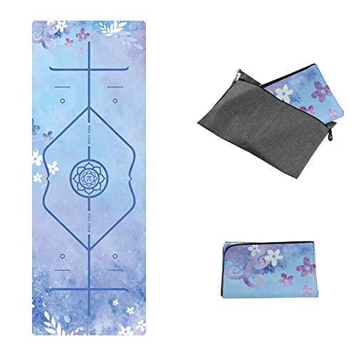 PIDO Gedrukte reis-yogamat, 2019, bijgewerkte versie, eco-suède rubber, lichte reisyogamat, antislip, voor yoga, studio…