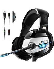 ONIKUMA Casque Gaming, Casque PS4 Xbox One PC Casque Gamer Son 7.1 Surround + Isolation + Fortes Basses, Microphone Anti Bruit Casque Stéréo pour Jeux vidéo LED Lumière