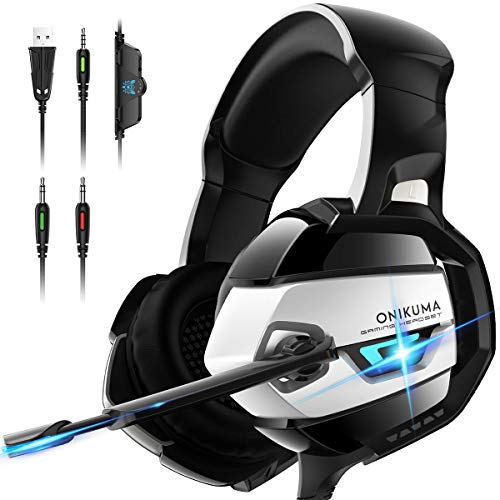 ONIKUMA Gaming Headset - Xbox One Headset PS4 Headset [2019 K5 Pro] with Noise Canceling Mic &7.1 Surround Bass, Gaming Headphones for PS4,Xbox 360, Xbox One, PC, Mac, Laptop, NS