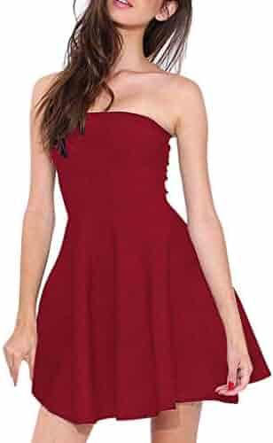 4f89826227a30 Women's Summer Tube Top Mini Dress Cover Up Strapless Dresses Solid Tube  Top Beach Mini Dress