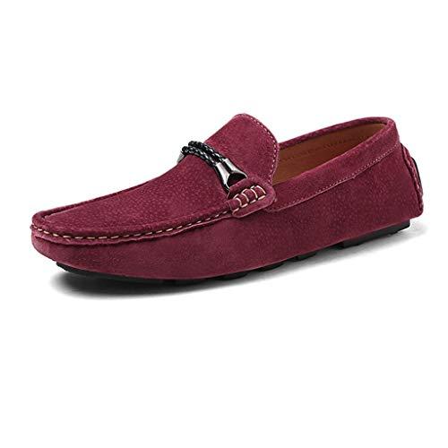 Cuero Mocasines Cordones Conducción Sin Zapatos Gamuza Clásico Zapatillas Para Mocasín Cómodos Hombre Red De 55pwFrnqa
