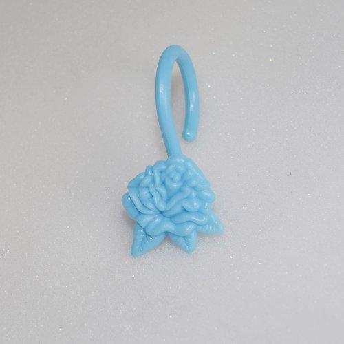 Blue Shower Curtain Hooks/rings : Rose Flower, Set of Twelve (12) -