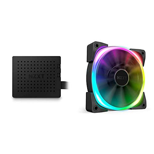 NZXT AER RGB V2-120mm Advanced LED RGB PWM Fan - Fluid Dynamic Bearing - Software Integrated Lighting Customizations - Two RGB Lighting Channels - Fan with Controller Bundle