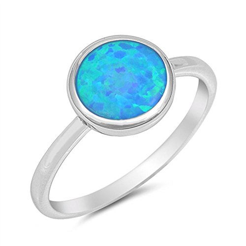 Blue Opal Sterling Ring (Solid Round Lab Created Blue Opal .925 Sterling Silver Ring Size)