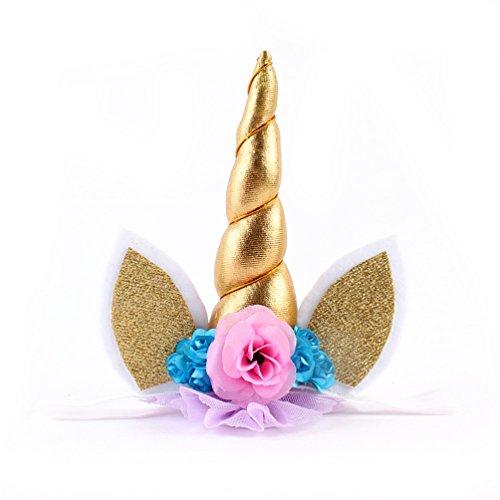 Halloween Headband Unicorn Horn Glitter Ears Headband Party Pack Cosplay Costume (Gold)