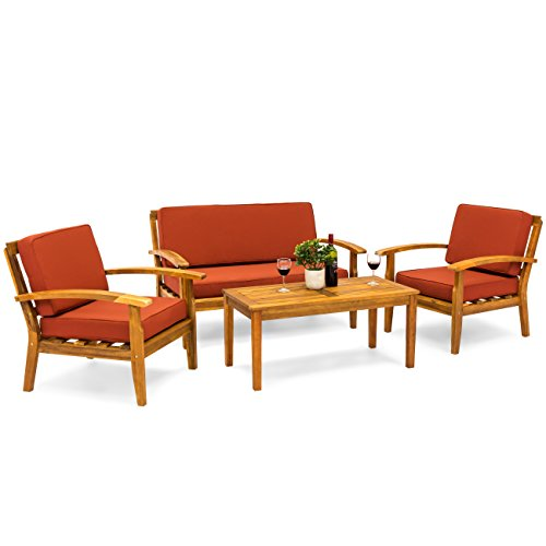 Best Choice Products 4-Piece Patio Acacia Wood Sofa Set w/Water Resistant Cushions – Red