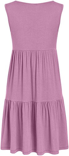 Summer Shirt Tiered Casual for Dresses Dark Mauve T Sundress Women Sleeveless USA YEddFq